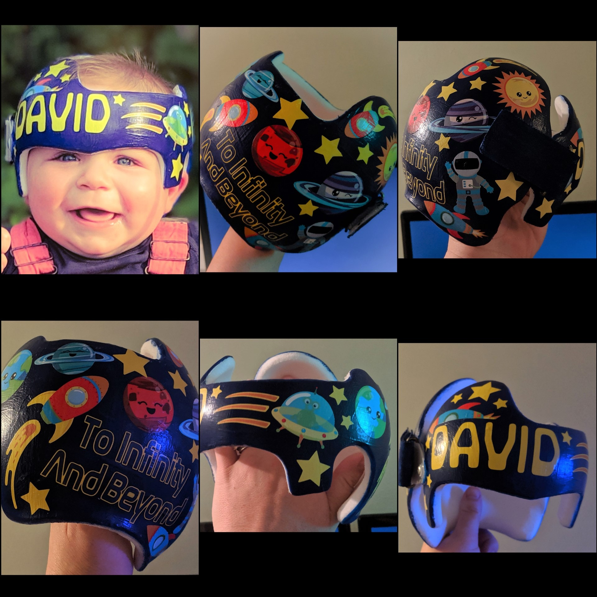 Space cranial band collage