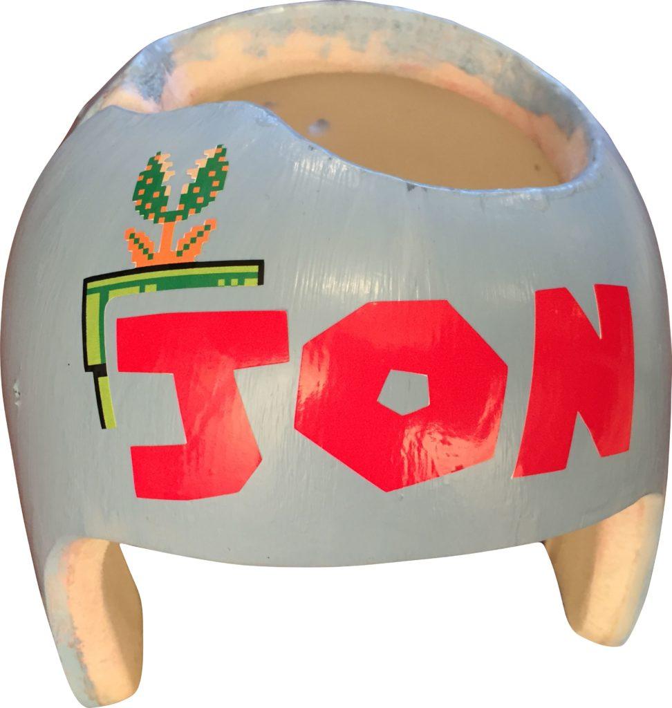 Super Mario name embellishment on cranial band