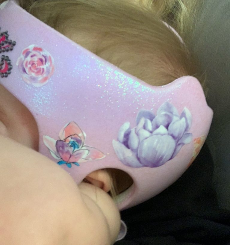 Watercolor butterfly doc band with glitter